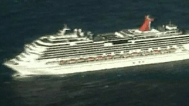 Aerials of cruise liner Carnival Splendor