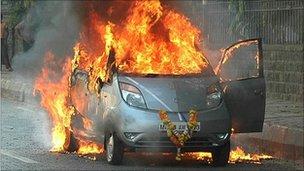 Nano on fire in Mumbai