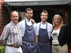 Paco (l), Peter, Jonray and Susan Sanchez-Iglesias from Bristol restaurant, Casamia
