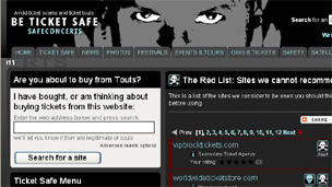 Safeconcerts website