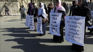 Candidates for the parliamentary elections and their supporters attend a protest in Kabul November 10, 2010.