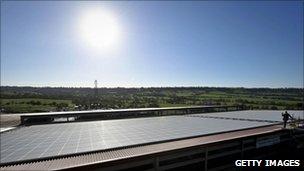 Solar panels at Worthy Farm