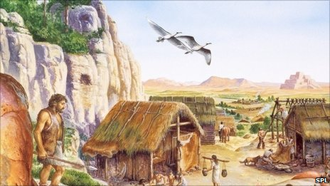An artist's impression of what an early Neolithic settlement might have looked like, some 8,000 years ago