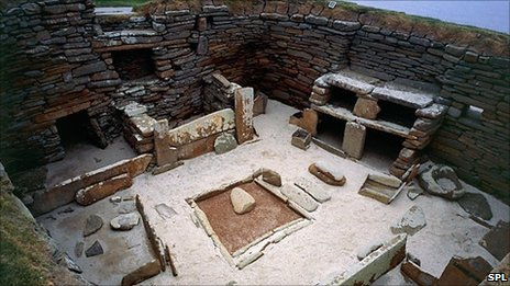 One of the houses in the Skara Brae Neolithic settlement