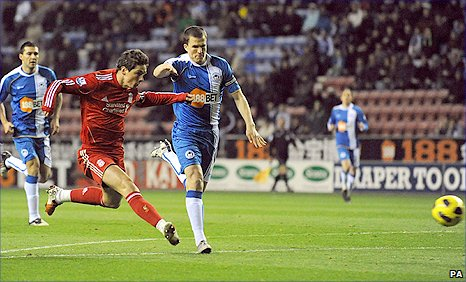 Fernando Torres puts Liverpool ahead at Wigan