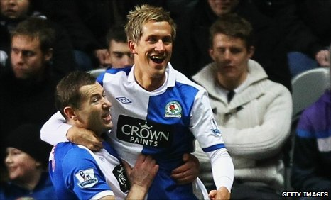 Morten Gamst Pedersen scores the opener for Blackburn