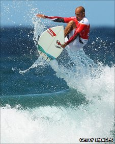 Ten-time world surf champion Kelly Slater in action