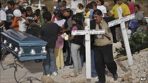 The funeral of brothers Luis Alberto and Roberto Jacobo Vital on the outskirts of the border city of Ciudad Juarez on 25 October