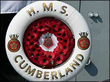 HMS Cumberland - poppy wreath