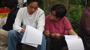 File picture of parents attending the spouse market in Shanghai last year