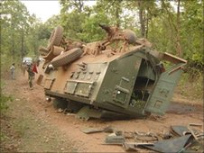 Lorry blown up by Naxalite rebels