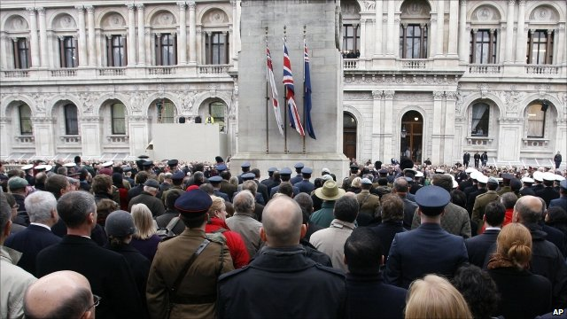 People gathered to mark the silence at the Cenotaph