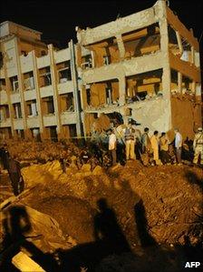 The damaged CID complex in Karachi, Pakistan