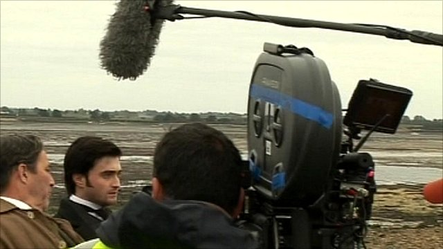 Daniel Radcliffe during the filming of 'The Woman in Black'