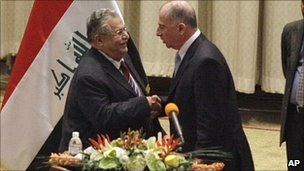 Iraqi President Jalal Talabani greets the new speaker Osama Nujaifi in parliament (11 Nov 2010)