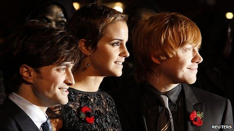 Daniel Radcliffe, Emma Watson and Rupert Grint at the premiere of Harry Potter and the Deathly Hallows Part 1
