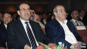 Nouri Maliki (left) and Ayad Allawi at a parliament session in Baghdad (11 November 2010)