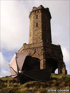 Darwen Tower, with broke dome at its bottom