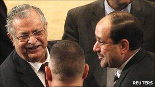 President Jalal Talabani (l), PM Nouri al-Maliki in parliament, 11 November