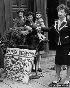 A woman organising a ration protest in London in 1946