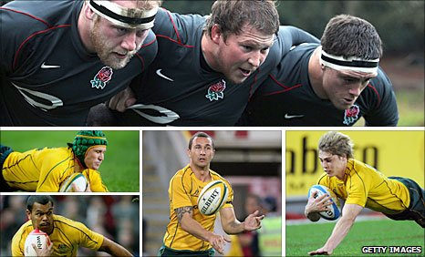 (Top, from left Dan Cole, Dylan Hartley, Andrew Sheridan, (middle left) Matt Giteau (bottom left), Kurtley Beale, (bottom middle) Quade Cooper, (bottom right) James O'Connor