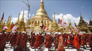 Monks marching in Rangoon on 25 September 2007