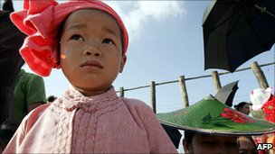 File image of a Shan boy in traditional dress at a ceremony  on 28 Jan 2006