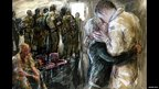 A painting of a soldier kissing his partner before boarding a plane at Brize Norton Airbase