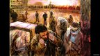 A painting showing local Iraqis arriving early in the morning to work on the coalition airbase