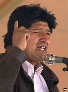 President Evo Morales addresses a crowd