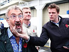 Eddie Jordan, David Coulthard and Jake Humphrey