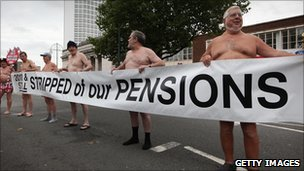 Pensioners demonstrate outside the Conservative Party Conference on October 5, 2010 in Birmingham, England. 