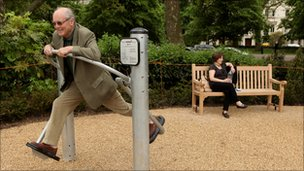 Pensioners exercise in London's first purpose built 'Senior Playground' in Hyde Park on May 19, 2010 in London, England.