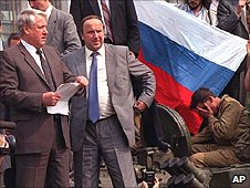 Boris Yeltsin reads out a statement during 1991 coup