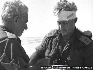 Ariel Sharon in the Sinai Desert with a head injury during the 1973 Arab-Israeli war