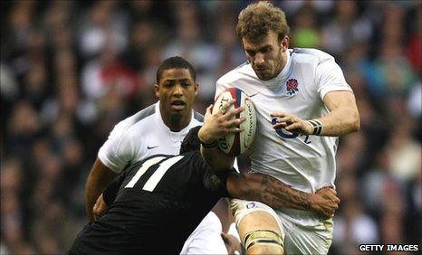 Tom Croft playing for England