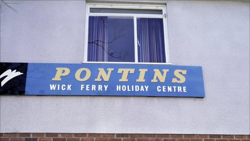 A sign for Pontin's holiday camp in 1977