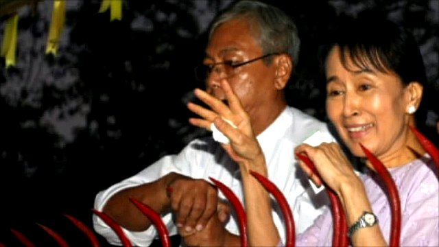 Aung San Suu Kyi following her release from house arrest