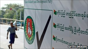 USDP poster in Rangoon