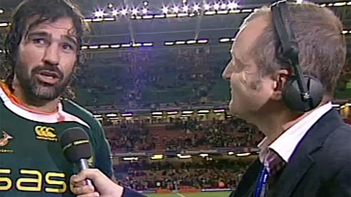 Victor Matfield is interviwed post-match by the BBC's Graham Thomas