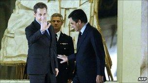 French President Nicolas Sarkozy and PM Francois Fillon at the Elysee Palace, Paris (13 Nov 2010)