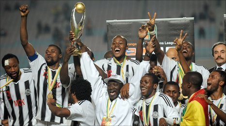 TP Mazembe celebrate their triumph in the 2010 African Champions League