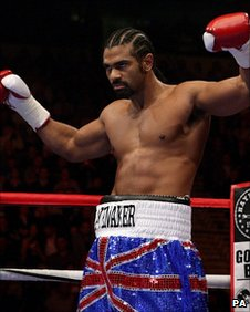 David Haye celebrates his win in Manchester