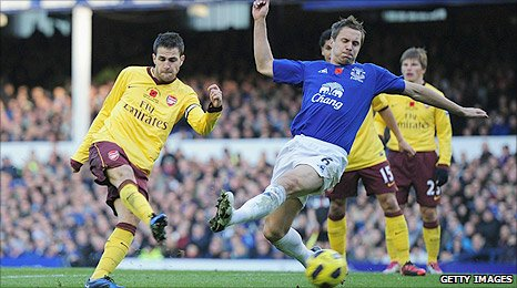 Cesc Fabregas scores Arsenal's second