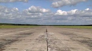 The runway at Szymany Airport, Poland