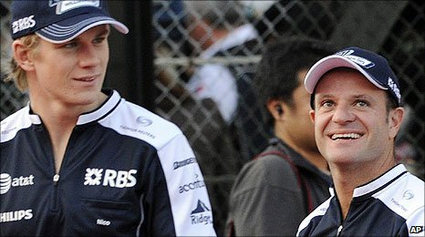 Nico Hulkenberg and Rubens Barrichello