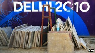 File pic from 28 September 2010 of a construction site in Delhi ahead of the Commonwealth Games