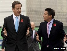 Prime Minister David Cameron and London 2012 chief Seb Coe (r) at a recent event