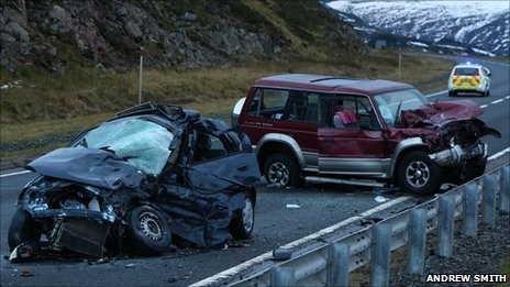 Crashed cars on A9. Pic: Andrew Smith