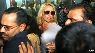 Pamela Anderson arrives in Mumbai